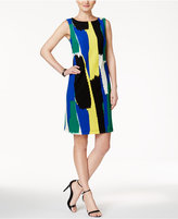 Kasper Brushstroke-Print Sheath Dress