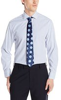 Nick Graham Men's Stripe Cotton Poplin Dress Shirt with Tie