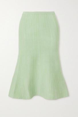Victoria Victoria Beckham Fluted Melange Ribbed-knit Skirt - Mint