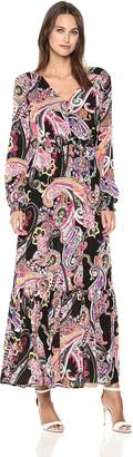 ECI New York New York Women's Long Sleeve Printed Maxi Flounce Dress