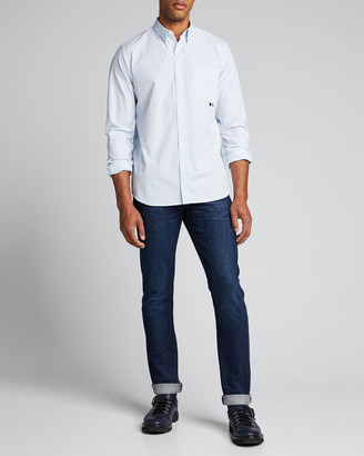Moncler Men's Narrow-Stripe Point-Collar Sport Shirt