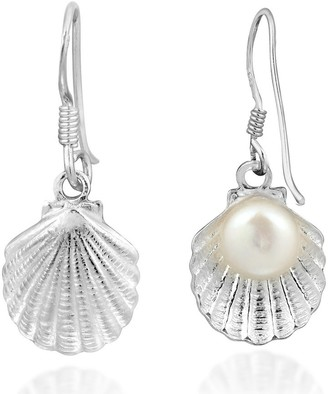 Aeravida Handmade Elegant Ocean Inspired Pearl in a Shell Sterling Silver Dangle Earrings