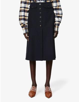 Victoria Beckham High-waisted wool midi skirt