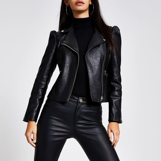 River Island Womens Black faux leather puff sleeve biker jacket