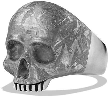 David Yurman Skull Ring with Carved Meteorite