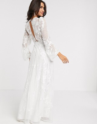 ASOS EDITION embroidered wedding dress blouson sleeve