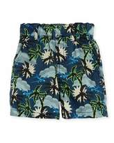 Stella McCartney Lucas Cotton Hawaiian Shorts, Blue, Size 12-24 Months