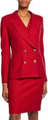 St. John Refined Textured Float Knit Notch Collar Jacket