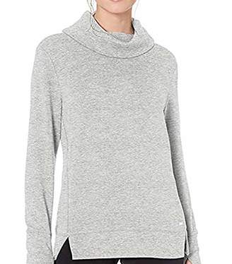 ZKHOECR Long Sweatshirts for Women to Wear with Leggings Cowl Neck Designer Dressy Tunic Chic Stylish Sweaters Soft Baggy Tee Shirts Flowy Boutique Lightweight Trapeze Blouses Gray M