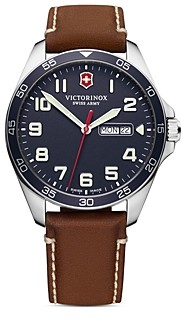 Victorinox Field Force Black Leather Strap Watch, 42mm