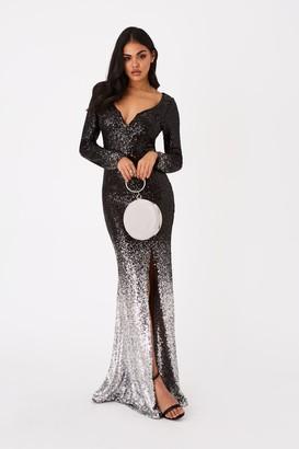 Little Mistress Zuma Black Sequin Ombre Maxi Dress