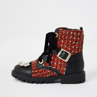 River Island Girls Black embellished boucle clumpy boots