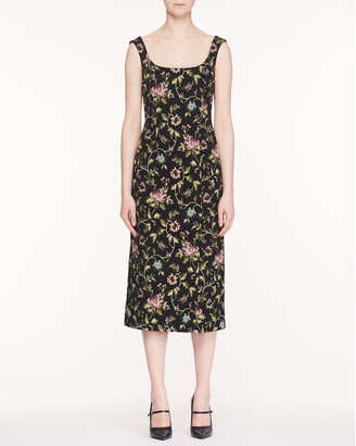Erdem Arlie Scoop-Neck Sleeveless Floral Stretch-Jacquard Midi Dress
