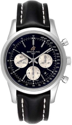 Breitling Black Stainless Steel Transocean Chronograph LE AB0151 Men's Wristwatch 43 MM