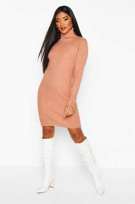 boohoo Longline Rib Knit Roll Neck Tunic