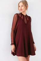 Kimchi Blue Constance Embroidered Plum Mesh Mock Neck Frock Dress