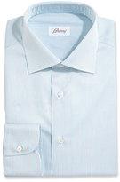 Brioni Fine-Stripe Dress Shirt, White/Aqua/Gray