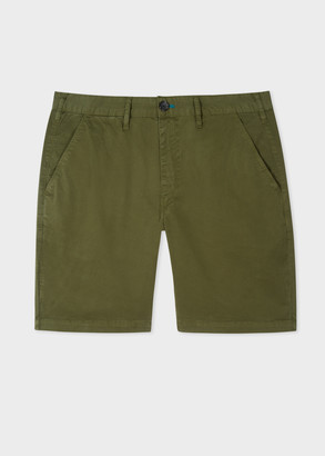 Paul Smith Men's Dark Green Garment-Dyed Stretch Pima-Cotton Shorts