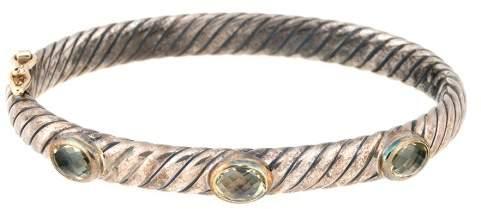 David Yurman Sterling Silver 3 Stone Prasiolite Bracelet