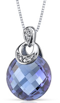 Ice 5 CT TW Alexandrite and Diamond 14K Polished White Gold Pendant Necklace