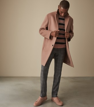 Reiss Samuels - Wool Striped Crew Neck Jumper in Pink