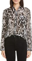 Saint Laurent Leopard Print Cotton & Silk Blouse