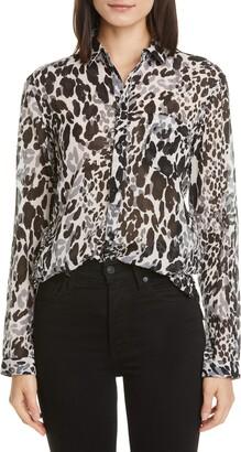 Saint Laurent Leopard Print Cotton & Silk Blouse