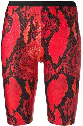 MSGM Snakeskin-Print Long Cycling Shorts