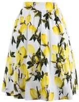 Moshow Women Pleated Skirt Lemon Vintage Skirts Knee-length Swing Skirt