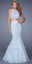 La Femme Two-Piece Halter Lace Prom Dress