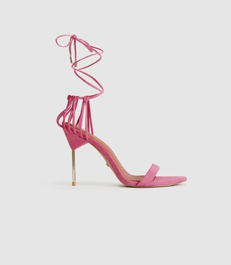Reiss Zhane - Suede Strappy Wrap Sandals in Pink
