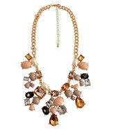 """Women's Fashion Necklace with Stones- Gold and Coral (16.5"""")"""