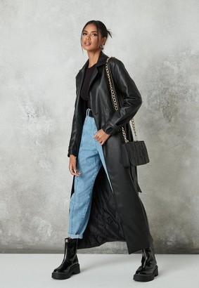 Missguided Black Faux Leather Belted Trench Coat
