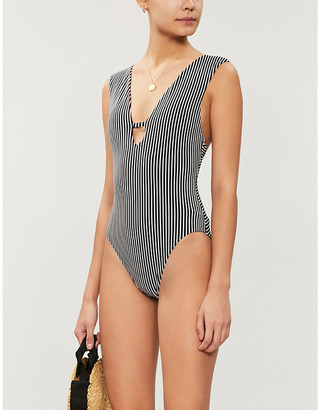 Seafolly Go Overboard striped V-neck swimsuit