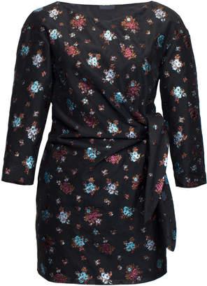 Lake Studio Tie-Detailed Floral-Jacquard Mini Dress Size: 38