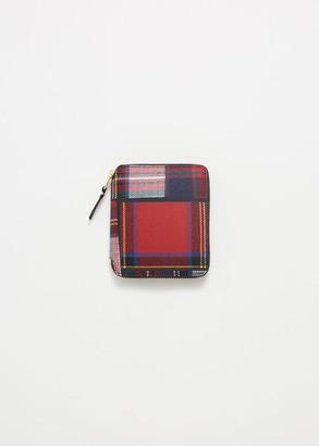 Comme des Garcons Men's Zip Wallet in Red Tartan Patchwork Leather/Textile