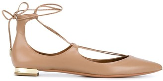 Aquazzura Nude Christy Leather Ballet Flats