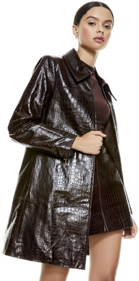 Alice + Olivia Logan Leather Snakeskin Coat