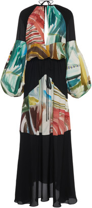 Rosie Assoulin Paneled Printed Chiffon Maxi Dress