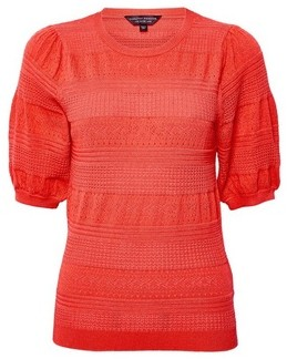Dorothy Perkins Womens Red Pointelle Puff Sleeve T