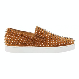 Christian Louboutin Pik Boat Camel Suede Trainers