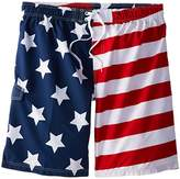 Kanu Surf Men's Big American Flag Extended Size Swim Trunks