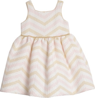 Pippa & Julie Metallic Chevron Fit & Flare Dress