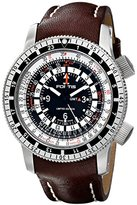 Fortis Men's 669.10.31L.16 B-47 Calculator Automatic 3 Time Zone Black Dial Watch