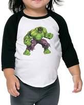 Vir89vsytw Toddler Cool Hulk 100% Cotton 3/4 Sleeve Athletic Baseball Raglan Shirt US Size 4 Toddler