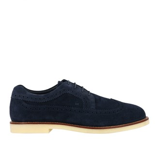 Hogan Brogue Shoes Derby Business Casual In Suede With Brogue Motif