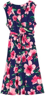 Vince Camuto Sleeveless Floral Print Dress (Plus Size)