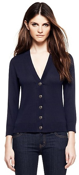 Tory Burch Cotton Shrunken Simone Cardigan