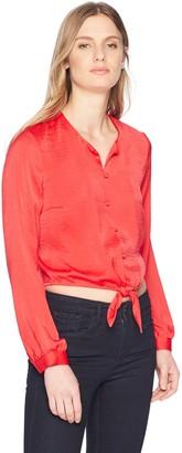 GUESS Women's Long Sleeve Simona Tie Front Shirt