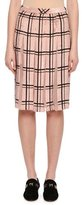 Valentino Sequined Windowpane Skirt with Sheer Pleats, Blush